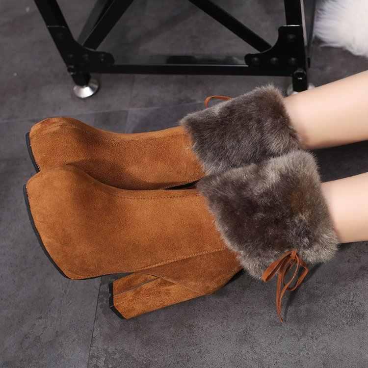 2020 kış topuk kar botları kadınlar için yarım çizmeler sıcak peluş kar patik kadın moda ayakkabılar yüksek kare topuklu