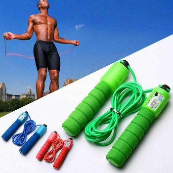 Fast counting skipping sports fitness sports adjustable speed counting non-slip handle sponge skipping aerobic exercise 1pc jump skipping ropes professional sponge skipping aerobics fitness adjustable speed counting skipping home fitness equipment