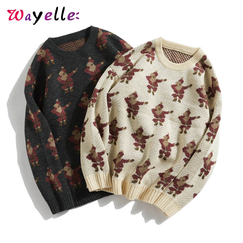 Costume Chirstmas Men Sweater 2019 Winter O-Neck Warm Knitted Sweaters Mens Retro Loose Pullovers Santa Claus Sweater Mens