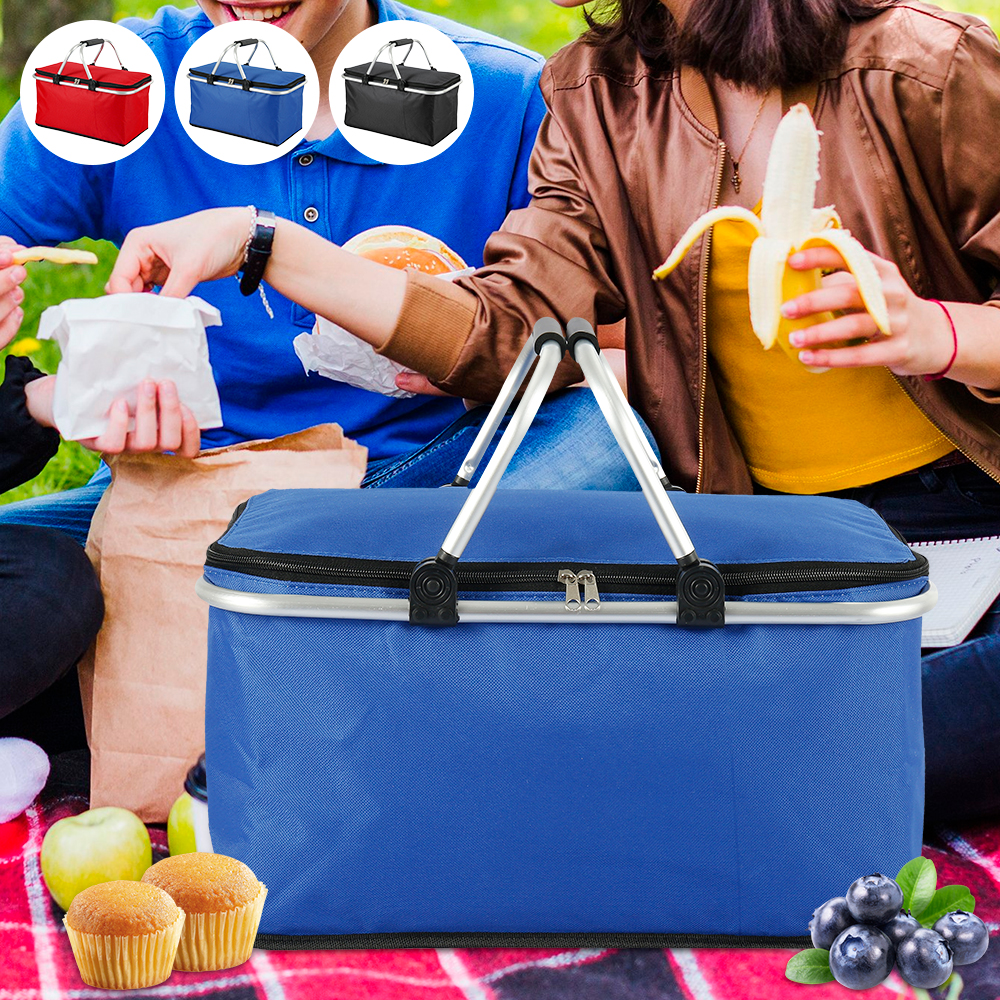 32L Folding Picnic Camping Lunch Bags Insulated Cooler Bag Cool Hamper Storage Basket Bag Box Outdoor Portable Picnic Basket