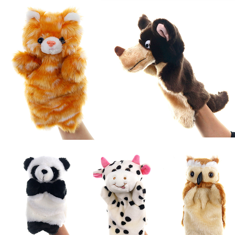 Animal Plush Hand Puppets Soft Toy Cow Shape Plush Doll Story Playing Dolls Kids Toy Hand Puppet Stuffed Toys For Children Gifts