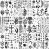66 Sheets 3D Small Black Temporary Tattoos For Women Men Waterproof Fake Tattoo Stickers For Face Neck Arm Children