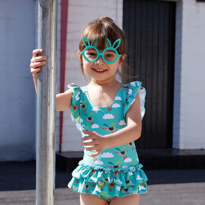 New Style KID'S Swimwear Girls Cute Cartoon Chickens Children Baby Girls One-piece CHILDREN'S Swimsuit