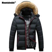 Зимние мужские куртки из плотной кожи с капюшоном, парка с меховым воротником, мужские пальто, повседневные мужские куртки с подкладкой, мужская одежда 6XL 7XL SA748