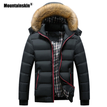 Mountainskin 男性の冬ジャケット厚い付きの毛皮の襟パーカー男性コートカジュアルが詰めメンズジャケット男性服 6XL 7XL SA748