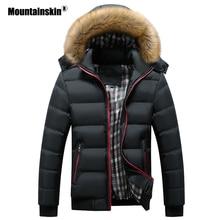 Mountainskin jaquetas masculinas de inverno, casacos casuais acolchoados, grossos, com gola de pele e capuz, roupas masculinas 6xl 7xl sa748