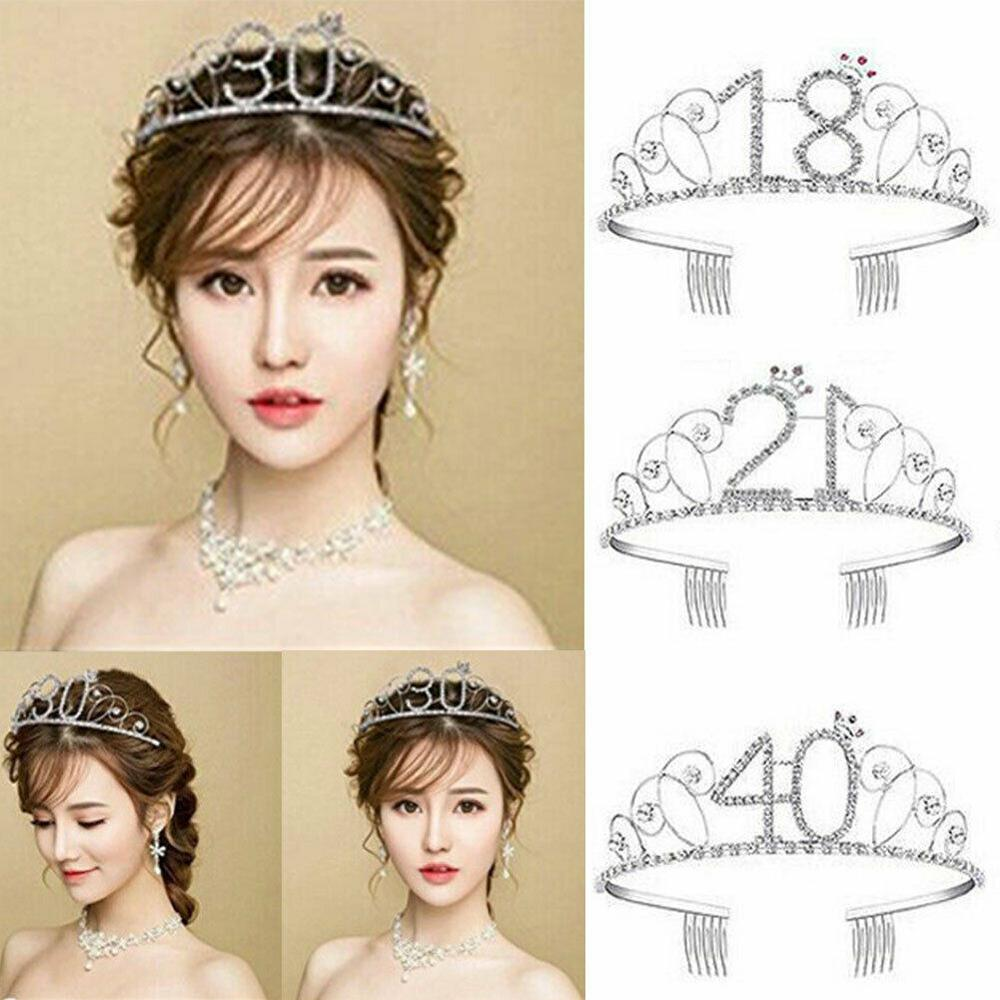 Women Birthday Crown 16/18/20/30/40/50/90 Years Old Birthday Gifts Hair Jewelry Birthday Party Prom Diadem Hair Accessories