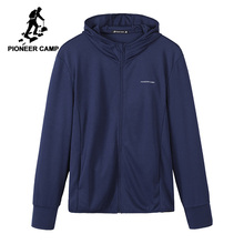 Pioneer camp 2020 malha jaqueta masculina casaco casual regular ajuste respirável jaqueta com capuz colarinho proteção solar masculino topos ajk901048