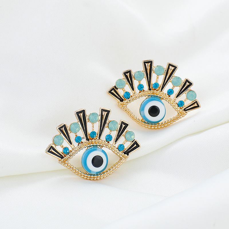 AENSOA 2019 New Fashion Gold Dripping Oil Evil Eye Stud Earrings For Women Vintage Crystal Statement Earring Party Jewelry Gift