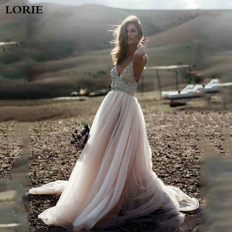 LORIE Boho Wedding Dress Spaghetti Strap A Line Beaded Crystal Backless Beach Wedding Gown  Vestido De Noiva Bride Dress 2019