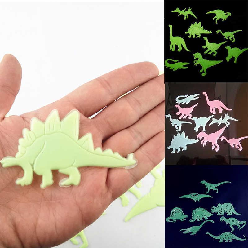 9 pièces/ensemble 3D créatif PVC lumineux dinosaures Stickers muraux brillent dans les dinosaures sombres décor pour bébé enfants chambre d'enfant mur amovible
