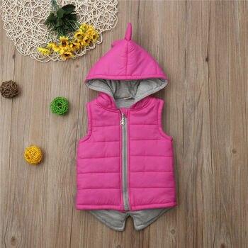 الشتاء الرضع أطفال اطفال بنات ديناصور سترة البريدي مقنع سترة معطف قمم قميص الوردي هوديس 6M-7T 1