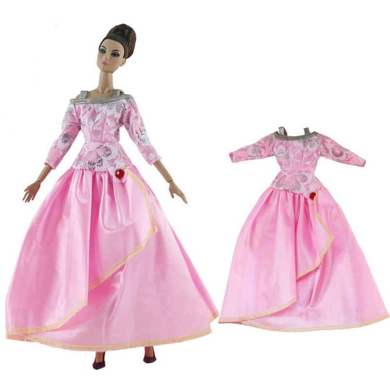Pink Fashion 1/6 Doll Clothes For Barbie Doll Princess Party Dress For Barbie Doll Outfits Gown 1:6 Doll Accessories Kids Toys