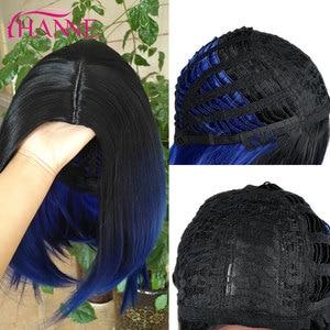 Image 5 - HANNE kısa sentetik peruk Ombre siyah mavi/gri/yeşil/mor Bob peruk yüksek sıcaklık Fiber doğal kadın peruk