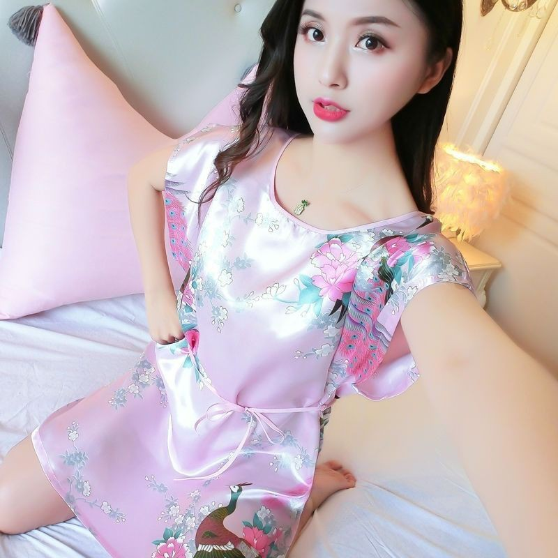 Summer Cool Imitated Silk Pajamas Short Sleeve Large Size Loose-Fit Dress-Style Viscose Nightgown