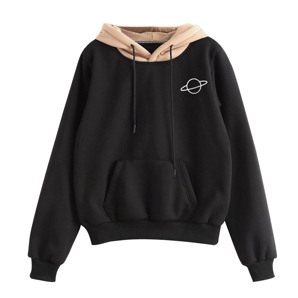 JAYCOSIN Fashion Ladies Pouch Pocket Long Sleeve Sweatshirt Chic Casual Elegant Comfortable Soft Hooded Pullover Tops