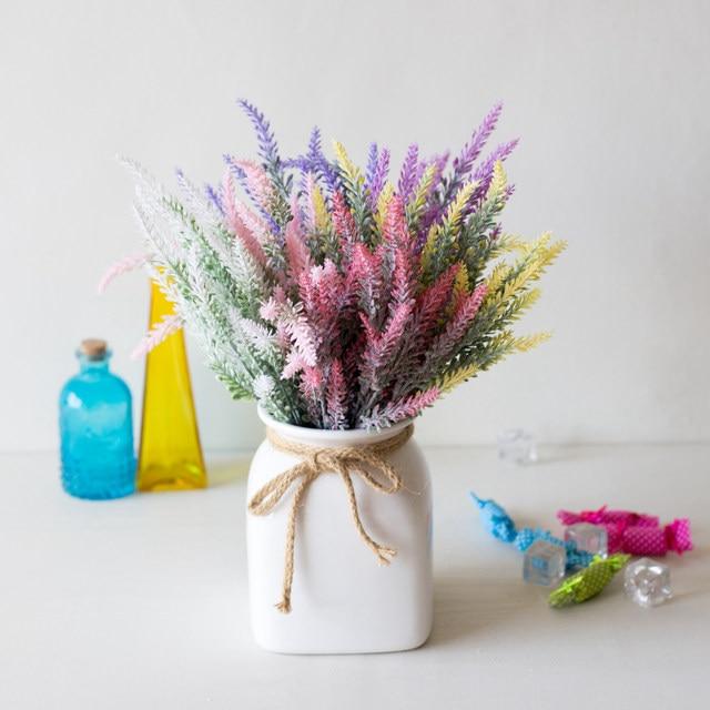 1 Bundle Artificial Flowers Romantic Provence Lavender Plastic Wedding Decorative Vase for Home Decor Grain Christmas Fake Plant 2