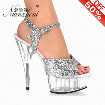High-heeled shoes women stage 15cm sexy thin heel sandals Glitter thick bottom stage nightclub stage pole dance Crystal Sandals