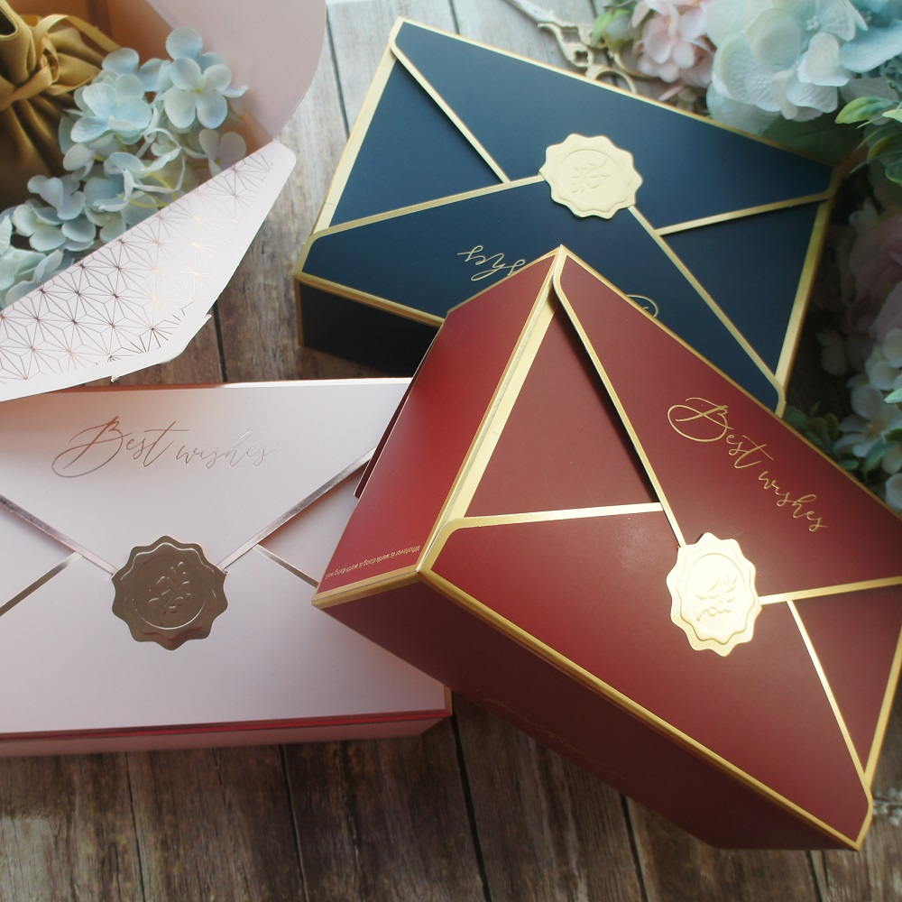 21.5*14*8cm 10pcs Gold Best Wish Envelop Elegant Design Paper Box For Candy Cookie Chocolate Macaroon Gift Packaging Wedding Use