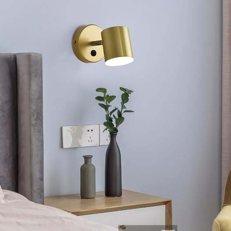 Gold Black Iron LED Wall Lamps Living Room Bedroom Bedside Indoor Lighting Fixtures Luminaire Wandlamp Switch Industrial Sconce