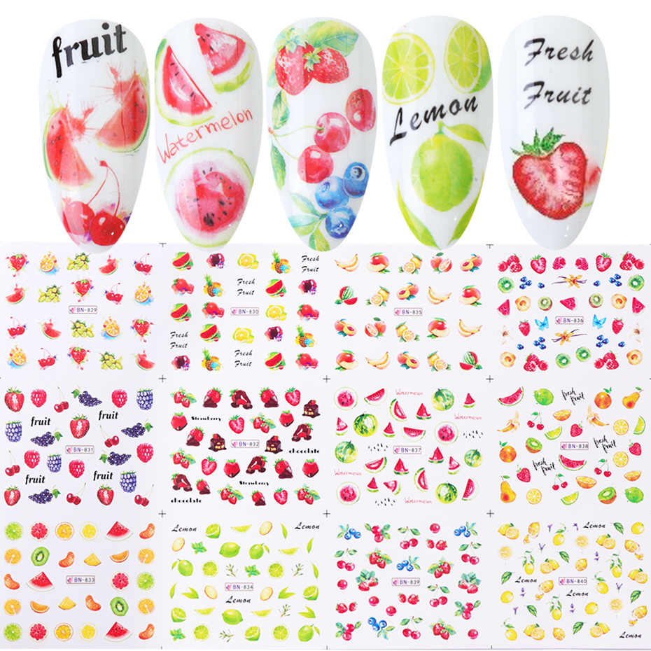 12Pcs Buah Nail Art Stiker Lemon Strawberry Semangka Air Transfer Slider Desain Kuku Foil Dekorasi TRBN829-840-1