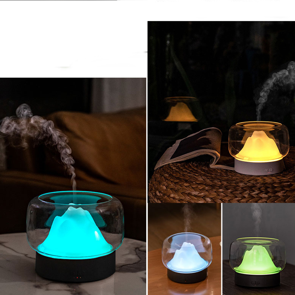 Image 2 - BPA Free Aroma Diffuser 400ML Moutain View Essential Oil Aromatherapy Difusor With Warm and Color LED Lamp HumidificadorHumidifiers   -