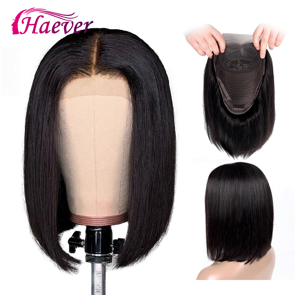 Haever 13x4 Lace Front Human Hair Wigs New Hair 150% Pre Plucked Bob Wig Brazilian Straight Lace Frontal Wig With Baby Hair Remy