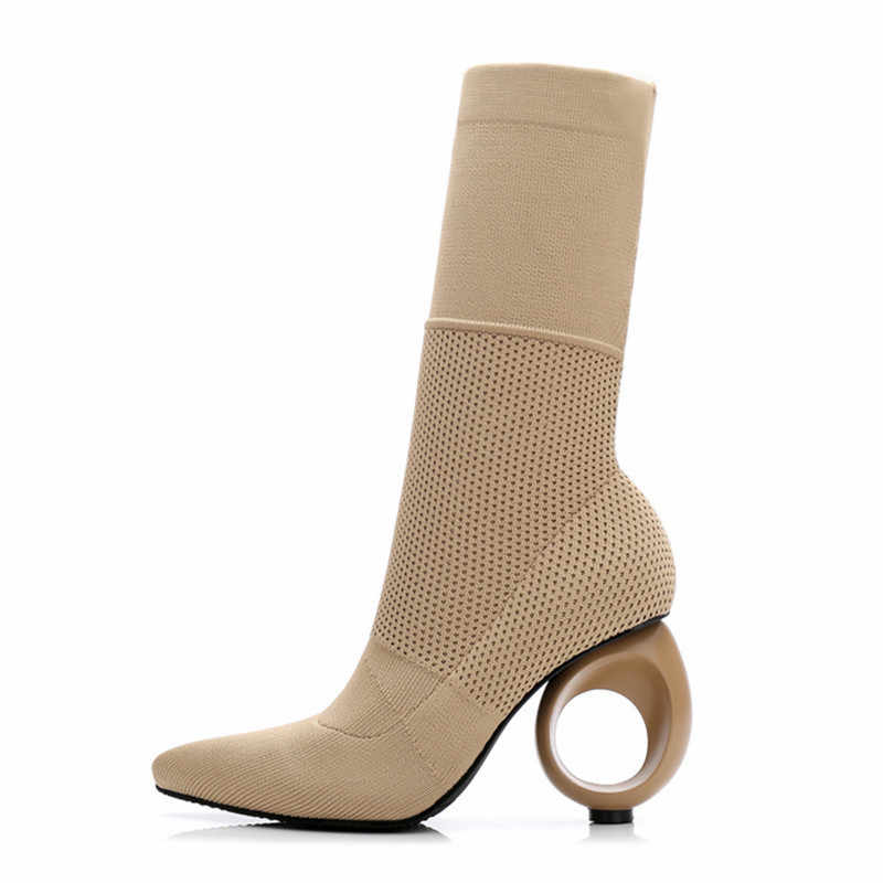 Jady Gül Tasarımcı Kadın Sonbahar Kış Çizmeleri Garip Yüksek Topuklu Sivri Burun Streç yarım çizmeler Örgü Çorap Boot Sevgililer Ayakkabı