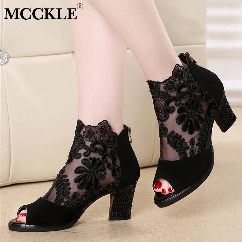 MCCKLE Summer Mesh Peep Toe Sandals Sexy Heels Single Shoes Lace Pumps Woman High Heel Fashion Women Shoes Platform Ladies 2020