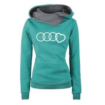 Women Heart Printed Hoodie Sweatshirt 2019 New Autumn Winter Streetwear Hip Hop Womens Hoodies Black Gray Green Light Blue