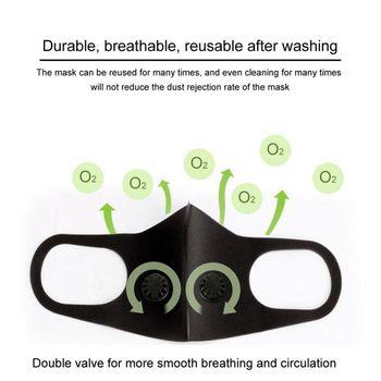 Reusable Anti PM2.5 Anti-Dust 3D Mesh Flter Structure Black Valve Mask + Filter Pad High Quality Masks 1