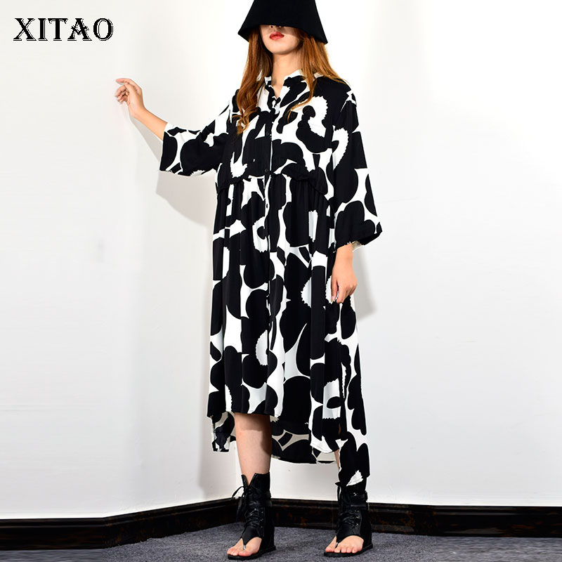 XITAO Elegant Print Irregular Midi Dress Stand Collar Long Sleeve Single Breasted Loose Casual Plus Size Dress Women ZLL4319