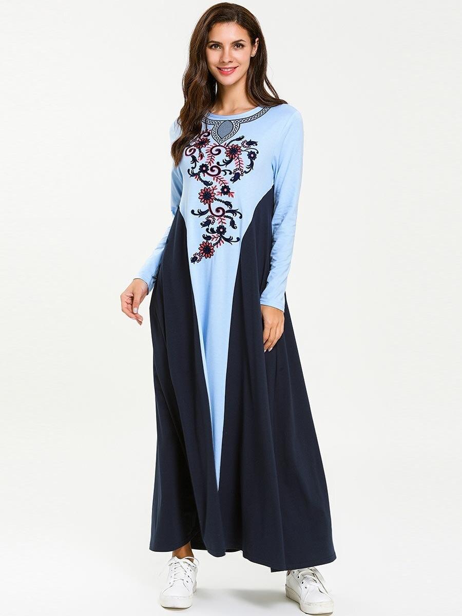 Muslim Abaya Dress Women Kaftan Kimono Long Robe Embroidery Splice Ethnic Hijab Dresses Elbise Turkey Islamic Clothing Plus Size
