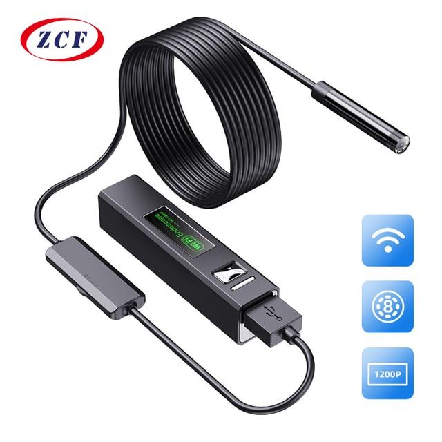 F150 WIFI endoscopio telecamera HD1200P impermeabile Hard soft Wire Wireless 8mm 8LED Mini Borescope Camera per Iphone telefoni Android