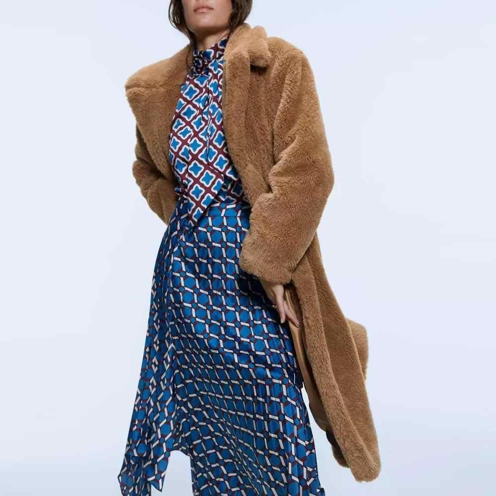 Za 秋冬レディースロング毛皮フェイクファーのコート豪華なジャケット女性の上着のコート長袖ファッションコート毛皮カーディガン