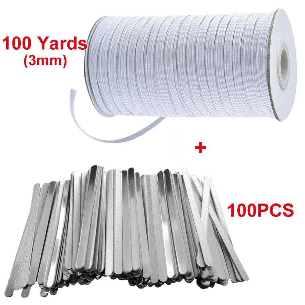 100PCS DIY Aluminum Nose Bridge Strip 100 Yards Earloop Cord For Nose Bridge Band Clip Crafts Making Accessories
