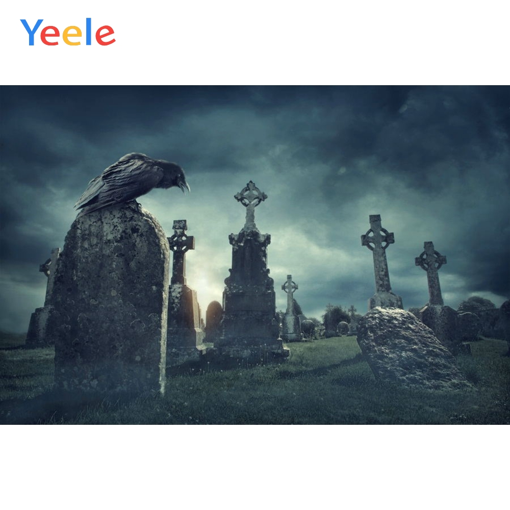 Yeele Happy Halloween Backdrop Tomb Tombstone Bird Night Forest Baby Customized Vinyl Photography Backgrounds For Photo Studio in Background from Consumer Electronics