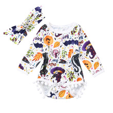 Get more info on the 2019 New Autumn Newborn Baby Girls Cartoon  Print Ruffles Rompers Jumpsuit Playsuit Infant Girls Halloween Clothes Outfits  9.1