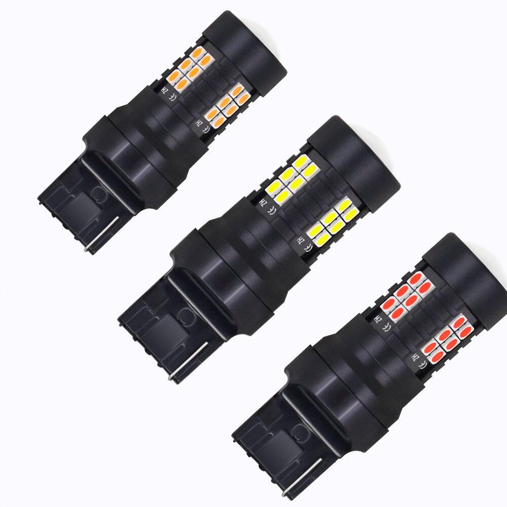2x сигнальная лампа, Светодиодные Автомобильные Лампы Canbus T20 7440 W21W WY21W 21SMD, поворотный тормоз, резервный Задний стояночный светильник, красный...