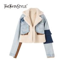 TWOTWINSTYLE Denim Jacket Women Hit Color Long Sleeve Patchwork Pocket Irregular