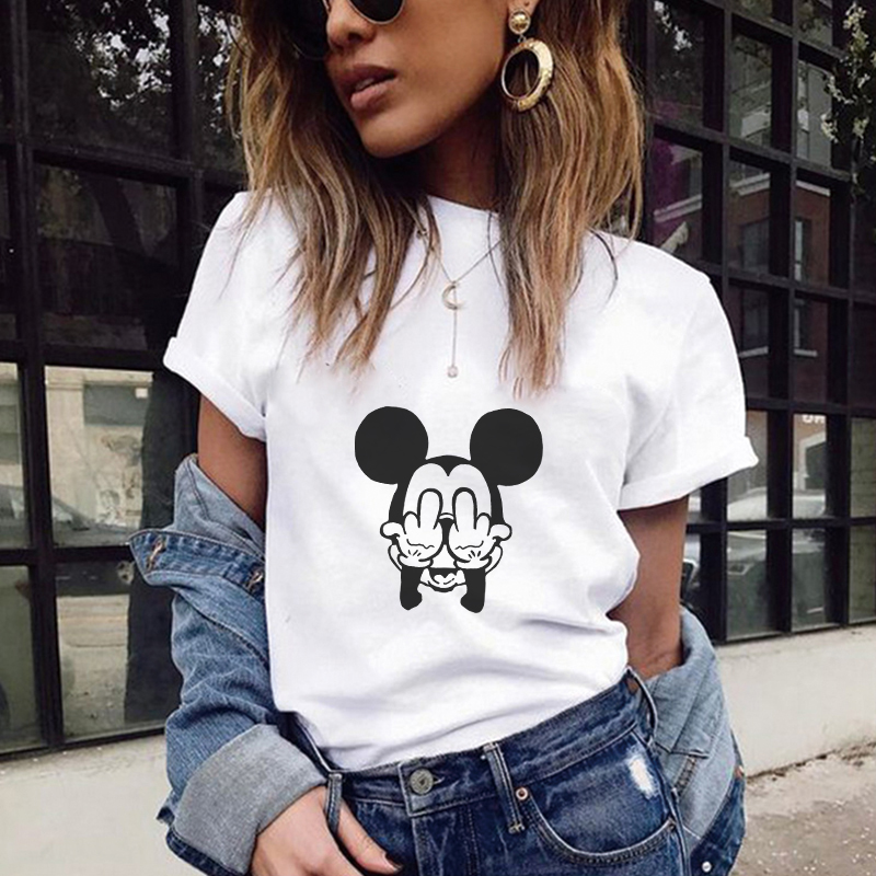 T Shirts Women 2020 Summer Mouse Text Printing Tshirt Harajuku Kawaii Tops Plus Size Street Wear Camisas Mujer Camiseta Feminina