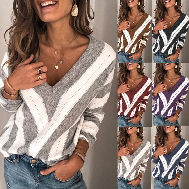 PEONFLY Women Blouse Deep V Striped Thin Sweater Autumn Knitwear Tops Casual Long Sleeve Shirt Jumper Pull Pullover Dropshipping