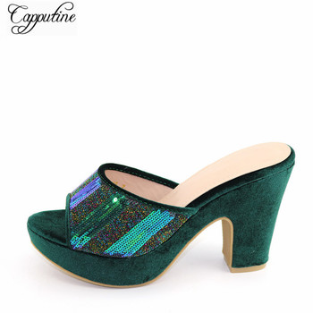 Fashion Dark Green African Party Women's High Heel Shoes With Sequins CFS16 Heel Height 10.5CM