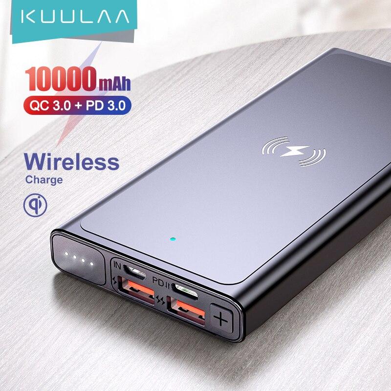 KUULAA 10000mAh Qi chargeur sans fil batterie externe batterie sans fil chargeur Powerbank pour iPhone11 X Samsung huawei Xiaomi
