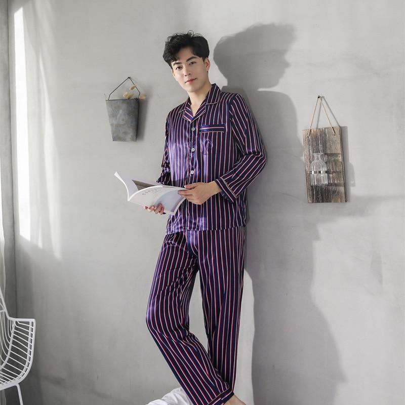 Пижамы осень мужской костюм Шелковый мода тонкий мужская с длинным рукавом костюм топы досуг кардиган Мужской в полоску пижамы