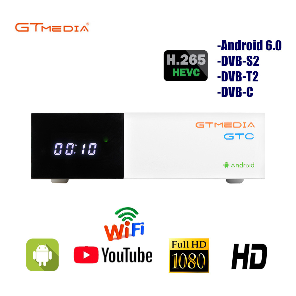 Gtmedia GTC Satellite TV Receiver Built-in WIFI Include 2 Years Cccam Cline Support DVB S2 DVB T2 Europe Cccam Android TV Box