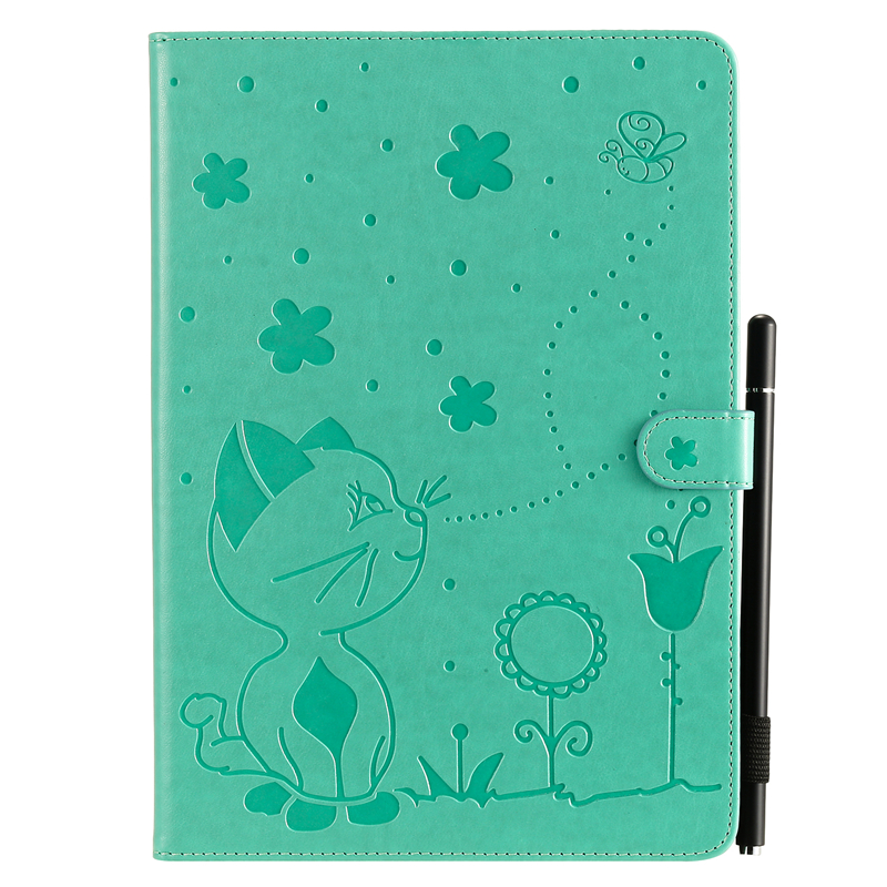 Green White For Apple iPad 10 2 inch 2019 Case Cartoon Cat Embossing Leather Cover For iPad 10