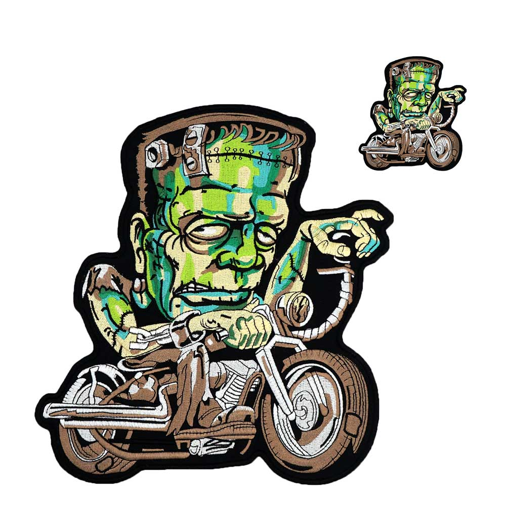GREEN large motorcycle iron on backing Embroidered Sewing Label punk biker Patches Clothes Stickers Apparel Accessories Badge
