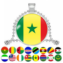 National Flag Necklace Tanzania Uganda Senegal Gambia Burundi Guinea Liberia Togo Cape Verde Seychelles Necklace Collar Jewelry(China)
