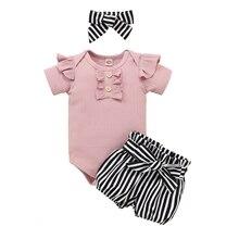 Baby-Girls New And Short Romper Headdress Round-Collar Three-Piece Blue/black